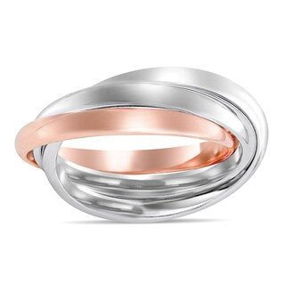 Miadora Signature Collection 2-Tone 14k White and Rose Gold Interlaced Triple Band Ring