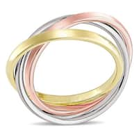 Miadora Signature Collection 3-Tone 14k White Yellow and Rose Gold Interlaced Triple Band Ring