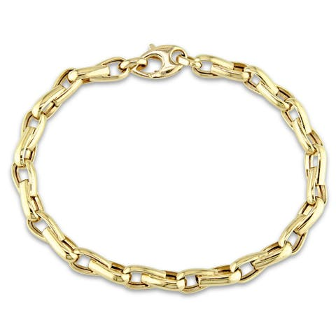 Miadora Signature Collection 14k Yellow Gold Men's Link Bracelet - 8.2 in x 6 mm x 2.8 mm