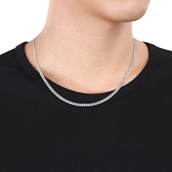 Shop Miadora 14k White Gold 20 Inch Men S Thin Flat Curb Link Chain Necklace On Sale Overstock 18655760