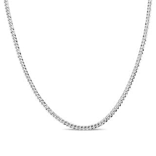 Miadora Signature Collection 14k White Gold 20 Inch Men's Flat Curb Link Chain Necklace|https://ak1.ostkcdn.com/images/products/18655760/P24750509.jpg?impolicy=medium