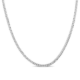 Miadora Signature Collection 14k White Gold 20 Inch Men's Flat Curb Link Chain Necklace