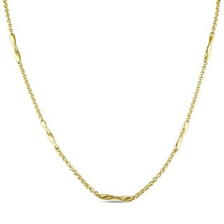 Miadora Signature Collection 14k Yellow Gold Twist Bar Station Necklace