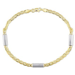 Miadora 2-Tone 14k Yellow and White Gold 1/2 Inch Bar Station Mariner Link Bracelet|https://ak1.ostkcdn.com/images/products/18655764/P24750512.jpg?impolicy=medium
