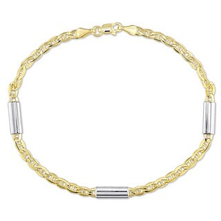 Miadora 2-Tone 14k Yellow and White Gold 1/2 Inch Bar Station Mariner Link Bracelet