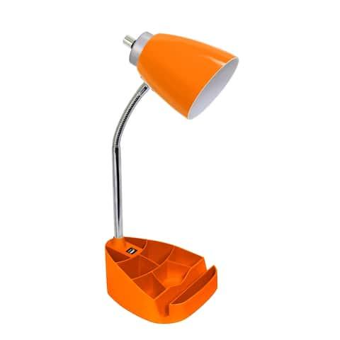 Limelights Gooseneck Organizer Desk Lamp w/ Holder and USB port,Orange