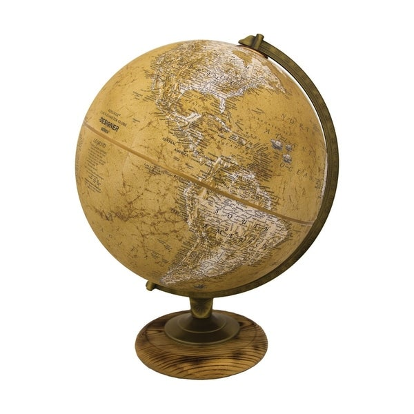 Morgan Beige Paper/ Hardwood Desktop World Globe