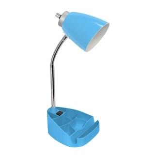 Limelights Gooseneck Organizer Desk Lamp w/ Holder & Charger, Blue