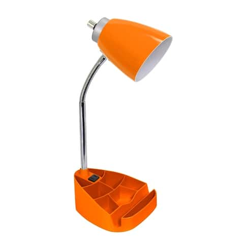 Limelights Gooseneck Organizer Desk Lamp w/ Holder & Charger, Orange