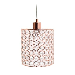 Elegant Designs 1 Light Elipse Crystal Cylinder Pendant, Rose Gold