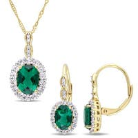 Miadora Signature Collection 14k Yellow Gold Created Emerald White Topaz & Diamond Necklace and Leverback Earrings Set
