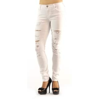 True Religion Mid Rise Supper Skinny Halle Distressed White Jeans|https://ak1.ostkcdn.com/images/products/18655910/P24750732.jpg?impolicy=medium