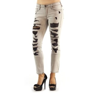True Religion Mid Rise Cora Black and Gray Ripped Jeans
