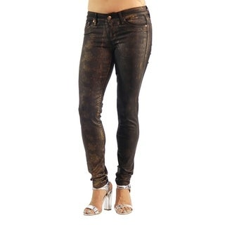 Women's Colored Stretch Design Animal Print Jeans