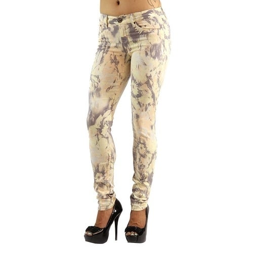 Women's Colored Stretch Yellow Print Jeans