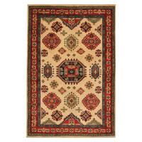 Handmade Herat Oriental Afghan Hand-knotted Tribal Kazak Wool Area Rug - 3'4 x 4'10