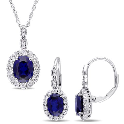 Miadora Signature Collection 14k White Gold Created Sapphire White Topaz & Diamond Necklace and Leverback Earrings Set