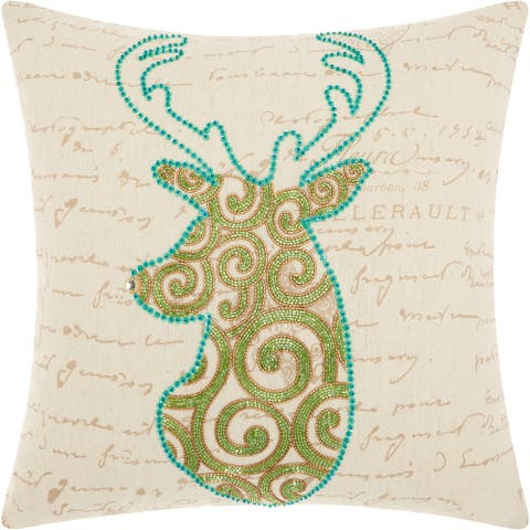 Mina Victory Scroll Reindeer Green Throw Pillow (18-Inch X 18-Inch)