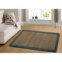 Chesapeake Seagrass Area Rug with Teal border 11769 Large (5'x7') - 5' x 7'