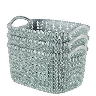 Curver by Keter KNIT Style Resin Rectangular 3-Piece Small Basket Set (2 options available)