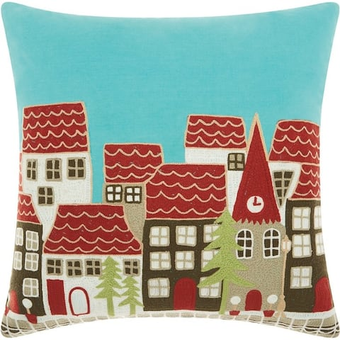 Mina Victory Holiday Village Multicolor Throw Pillow (18-Inch X 18-Inch) - Aqua/Red/White