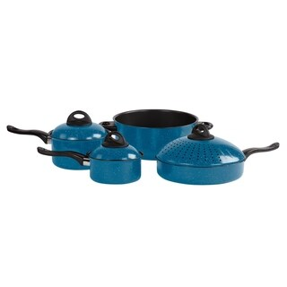 Aluminum Non Stick Cookware Set - 7 Pc Blue Non Stick Pots and Pans Set