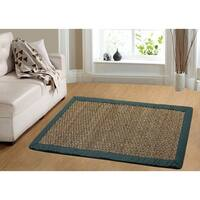 Havenside Home Avalon Coastal Seagrass Teal Accent Area Rug - 2' x 3'