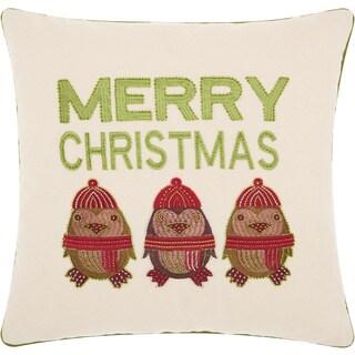 "Kathy Ireland Christmas Merry Owls Natural Throw Pillow (16"" x 16"")"
