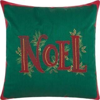 "Kathy Ireland Christmas Beaded Noal Green Throw Pillow (16"" x 16"")"