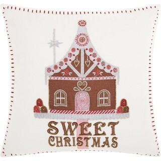 """Kathy Ireland Christmas Sweet House White Throw Pillow (16"""" x 16"""")"""