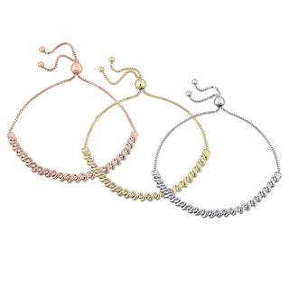 Miadora White Rose and Yellow Plated Sterling Silver 3/4ct TDW Diamond S-Link Bolo Bracelet 3-Piece Set (H-I-J, SI3-SI4)