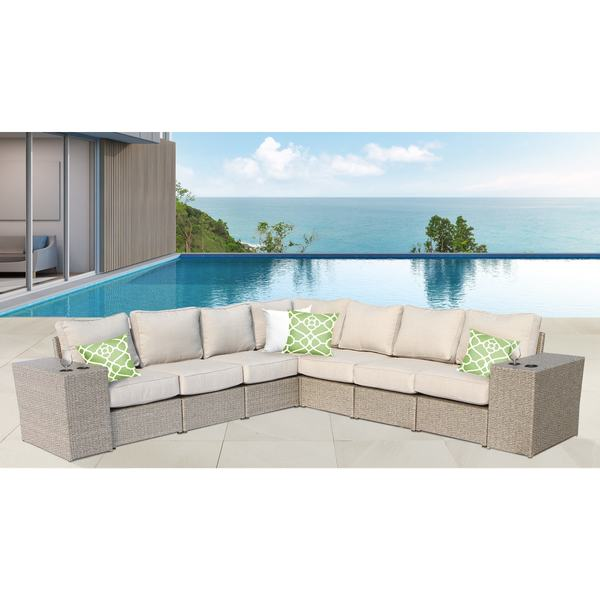 Chelsea 9 Piece Sectional with Cup Holders All Weather Resort Grade Outdoor Furniture Patio Sofa Set With Back Cushions