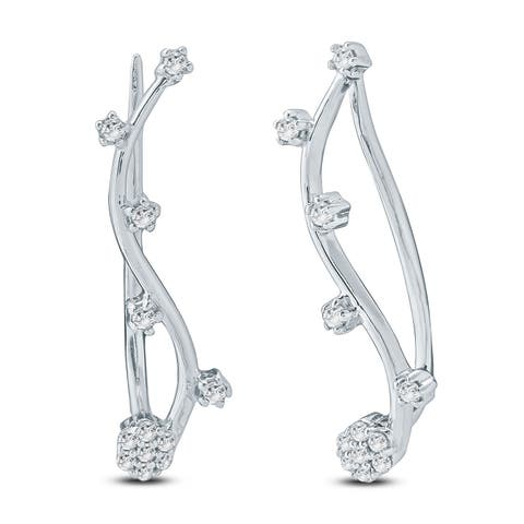 618ce9723 Cali Trove 1/6 Ct Round Diamond Ear Climbing Crawler Earring In Sterling  Silver.