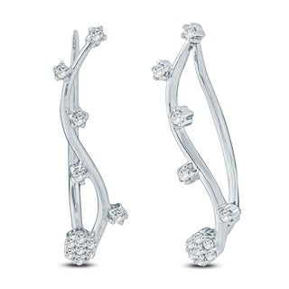 Cali Trove 1/6 Ct Round Diamond Ear Climbing Crawler Earring In Sterling Silver. - White