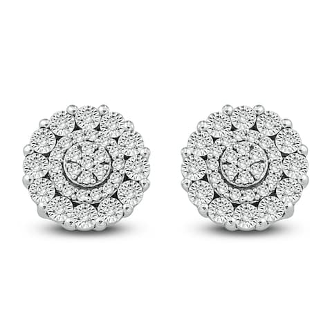 Cali Trove 1/10ct TDW Diamond With Miracle Plate Cluster Earring In Sterling Silver - White