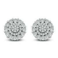 Cali Trove 1/10 Ct Round Diamond Frame Cluster Stud Earring In Sterling Silver. - White