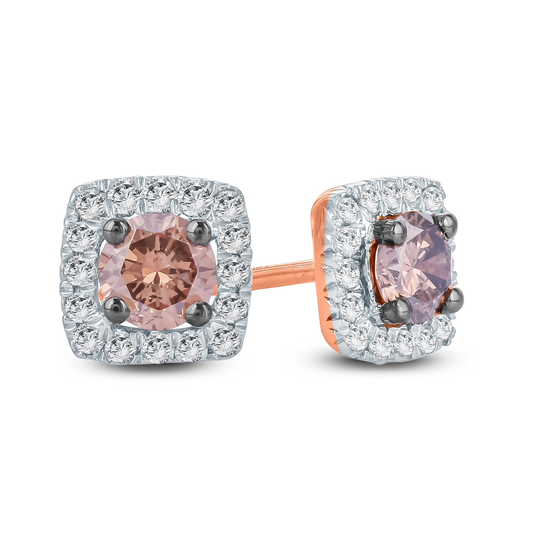 White Gold Plated Silver Prism Jewel 0.33 Carat Round Natural Brown Diamond Screw Back Prong Set Stud Earrings