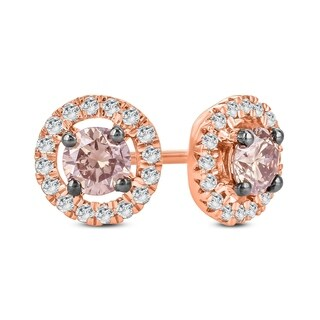 Cali Trove 1/2 Ct Round Champagne & White Diamond Hola Stud Earring In 10K Rose Gold. - Brown