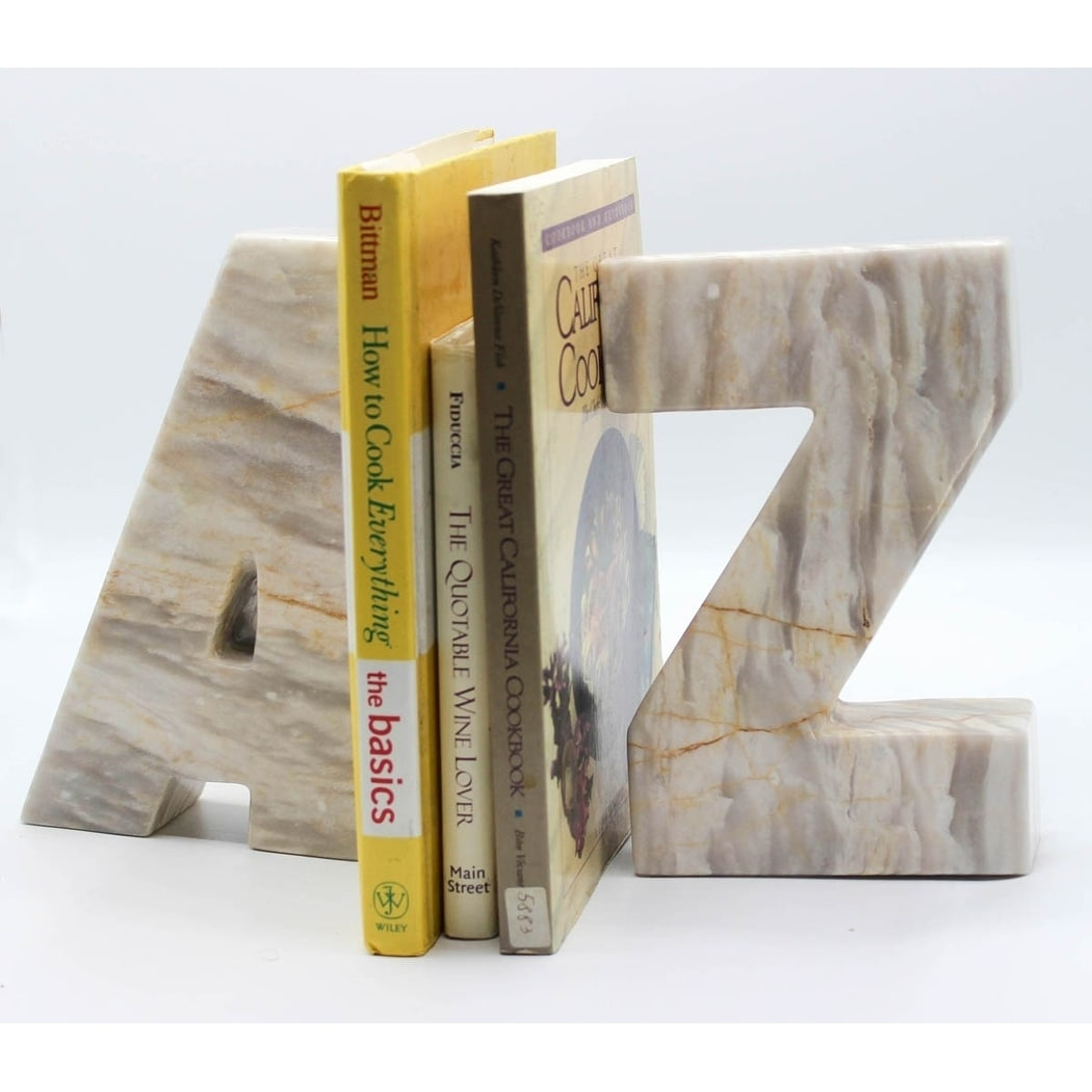 Marble letter bookends in A & Z!, Beige