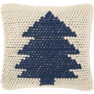 Mina Victory Christmas Tree Loops Navy Ivory Throw Pillow (20-Inch X 20-Inch)