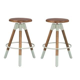 Nui&Co. Brown/Grey Wood/Metal Adjustable Backless Bar Stools (Set of 2)
