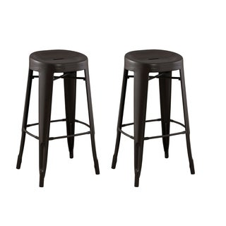 Caitlin Black Tall Bar Chairs Set Of 2 Free Shipping