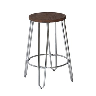 ACEssentials Quinn Powder-coated Metal and Wood Top Round Barstool (Set of 2)