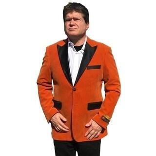 Single Breasted 2-Button Blazer In Brick Orange with Notch Lapel