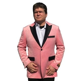 Single Breasted 2-Button Blazer In Pink with Notch Lapel