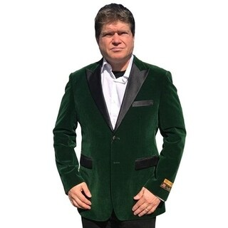 Single Breasted 2-Button Blazer In Green with Notch Lapel