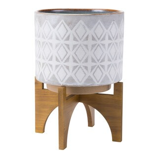 Planter With Wooden Base Lg Gry & Wht