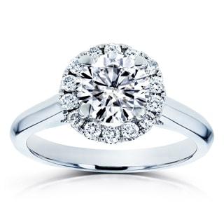 Annello By Kobelli 14k White Gold 1 1 4ct TGW Moissanite And Diamond Halo Engagement Ring