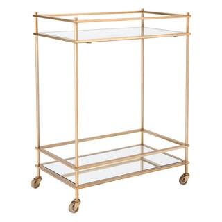Mirrored Gold Steel Wheeled Bar Cart