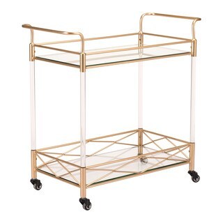 Lucite Goldtone Steel and Acrylic Wheeled Bar Cart